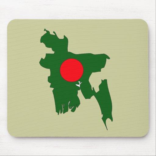 Bangladesh flag map mouse pad