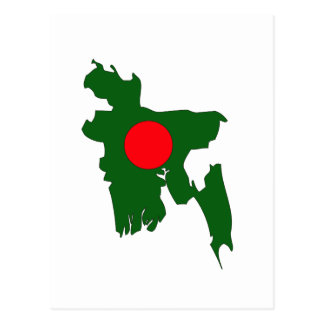 Bangladesh flag map postcard