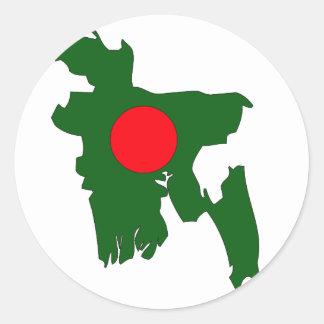 Bangladesh flag map round stickers