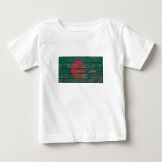 Bangladesh Flag on Rough Wood Boards Effect Baby T-Shirt
