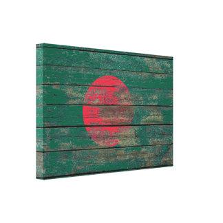 Bangladesh Flag on Rough Wood Boards Effect Canvas Print