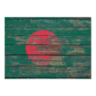 Bangladesh Flag on Rough Wood Boards Effect 5x7 Paper Invitation Card