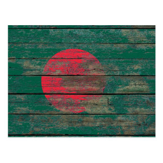 Bangladesh Flag on Rough Wood Boards Effect Postcard