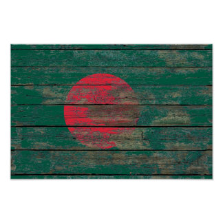 Bangladesh Flag on Rough Wood Boards Effect Poster