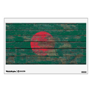 Bangladesh Flag on Rough Wood Boards Effect Wall Sticker