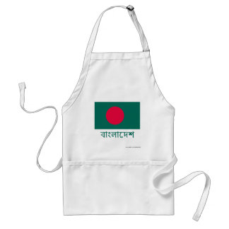 Bangladesh Flag with Name in Bengali Adult Apron