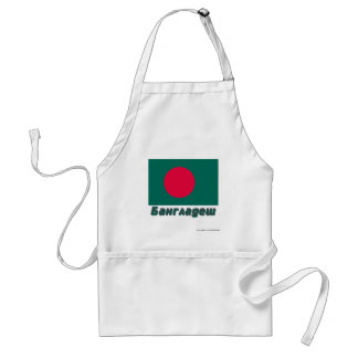 Bangladesh Flag with name in Russian Adult Apron
