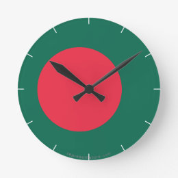 Bangladesh Plain Flag Round Clock