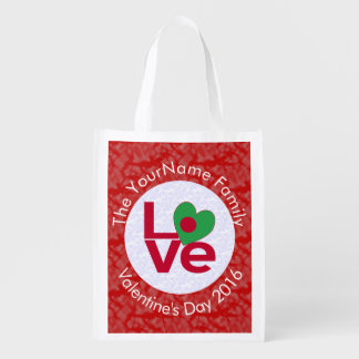 Bangladeshi LOVE White on Red Reusable Grocery Bags