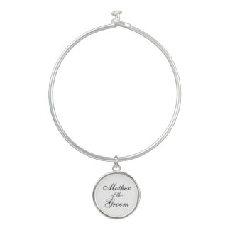 Bangle Bracelet With Mother of the Groom Charm
