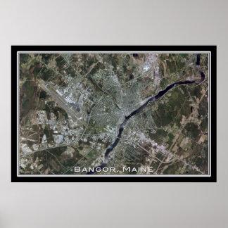 Bangor Maine From Space Satellite Art Poster