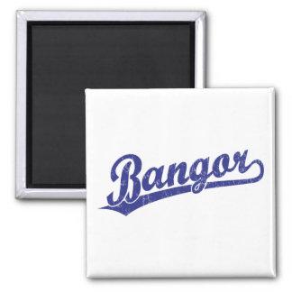 Bangor script logo in blue magnet