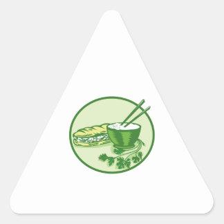 Banh Mi Rice Bowl Coriander Circle Retro Triangle Sticker