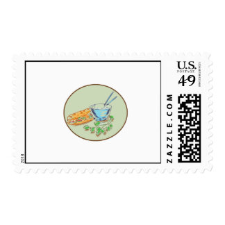 Bánh Mì Sandwich and Rice Bowl Drawing Postage Stamp
