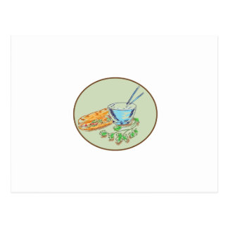 Bánh Mì Sandwich and Rice Bowl Drawing Postcard