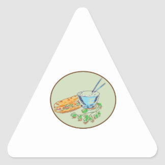Bánh Mì Sandwich and Rice Bowl Drawing Triangle Sticker