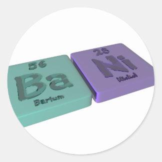 Bani as Ba Barium and Ni Nickel Classic Round Sticker