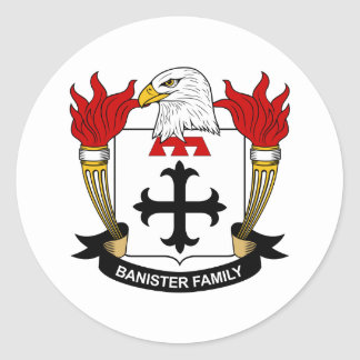 Banister Family Crest Classic Round Sticker
