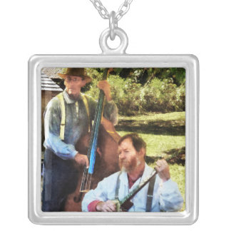 Banjo and Bass Silver Plated Necklace