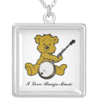 BANJO BEAR-NECKLACE SILVER PLATED NECKLACE