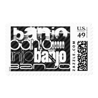 Banjo; Black & Dark Gray Stripes Postage Stamp