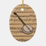 Banjo con el fondo de la partitura ornamentos de reyes magos