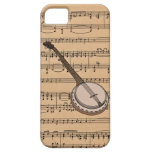 Banjo con el fondo de la partitura iPhone 5 fundas