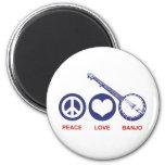 Banjo del amor de la paz imán para frigorifico