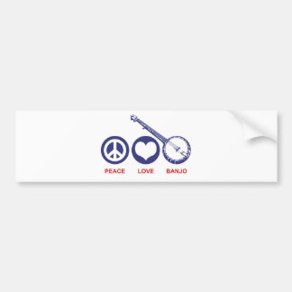 Banjo del amor de la paz pegatina para auto