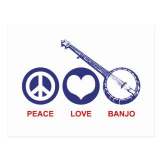 Banjo del amor de la paz postal