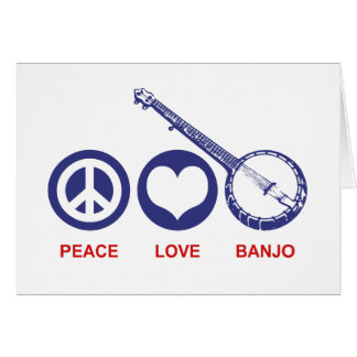 Banjo del amor de la paz tarjeta de felicitación