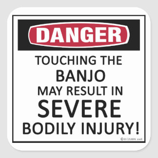 Banjo del peligro pegatinas cuadradases