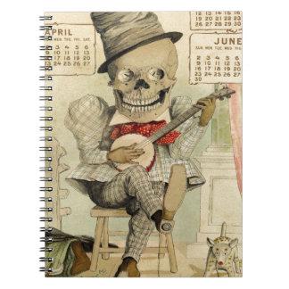 Banjo del vintage que juega el esqueleto libro de apuntes