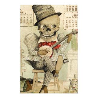 Banjo del vintage que juega el esqueleto papelería de diseño