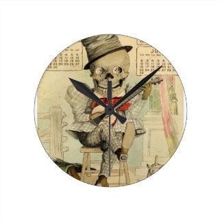 Banjo del vintage que juega el esqueleto reloj de pared