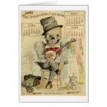 Banjo del vintage que juega el esqueleto tarjeta de felicitación
