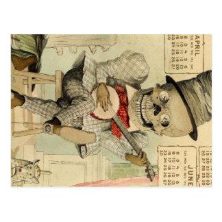 Banjo del vintage que juega el esqueleto tarjetas postales