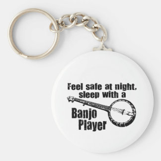 Banjo divertido llavero redondo tipo pin