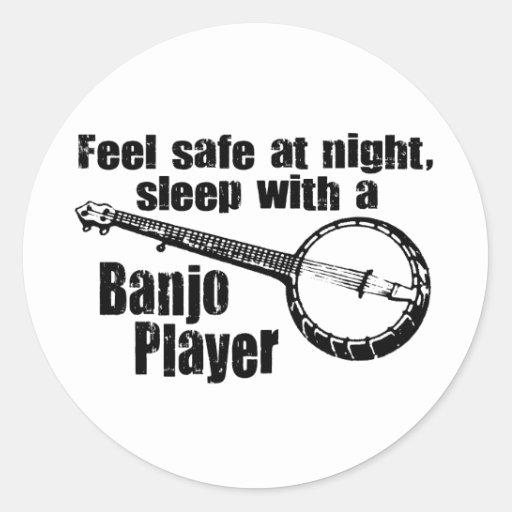 Banjo divertido pegatinas redondas