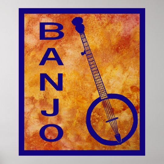 Banjo en el naranja póster
