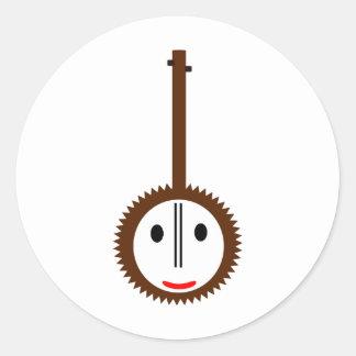 Banjo feliz pegatina redonda