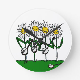 Banjo Flowers Round Clock