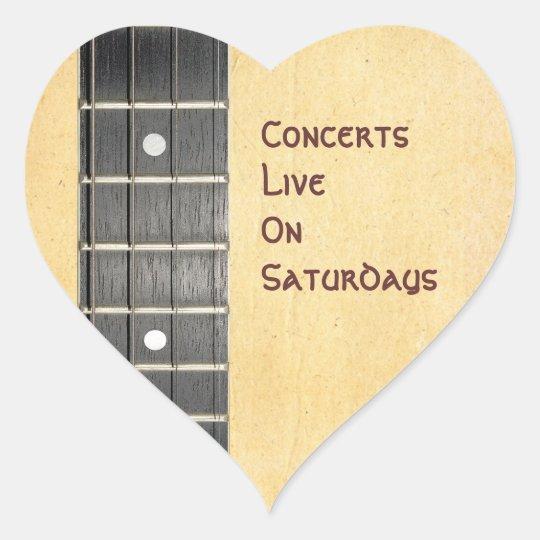 Banjo Fretboard Name Gift Tag Heart Bookplate