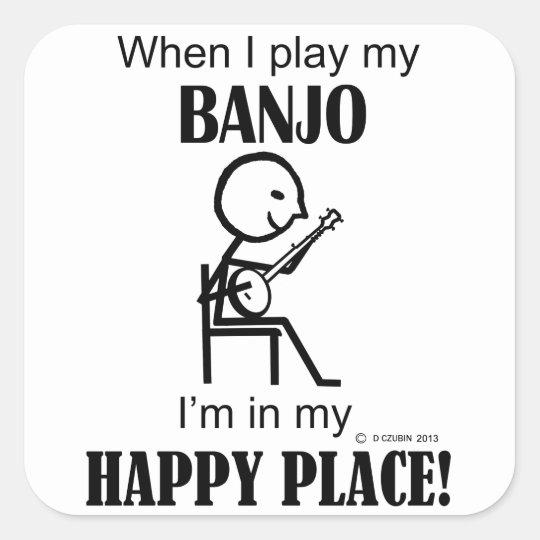 Banjo Happy Place Square Sticker