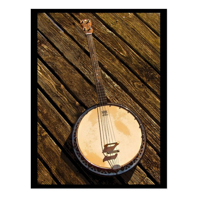 Banjo Music Instrument on Wood Postcard