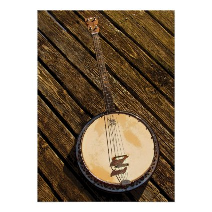 Banjo Music Instrument on Wood Poster