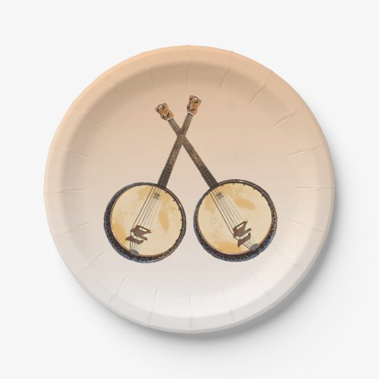 Banjo Music Instruments on Orange Paper Plates
