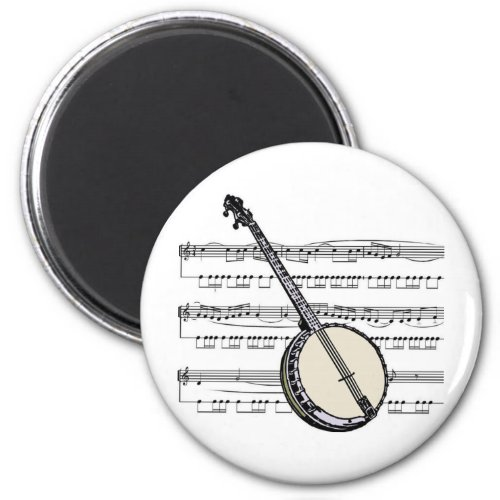 Banjo Over Sheet Music Round Magnet
