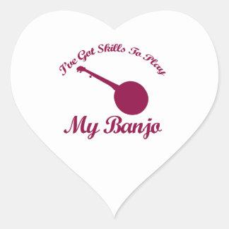 banjo musical designs heart stickers
