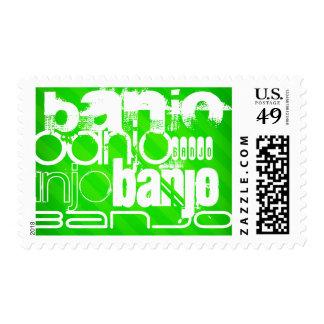 Banjo; Neon Green Stripes Postage Stamp
